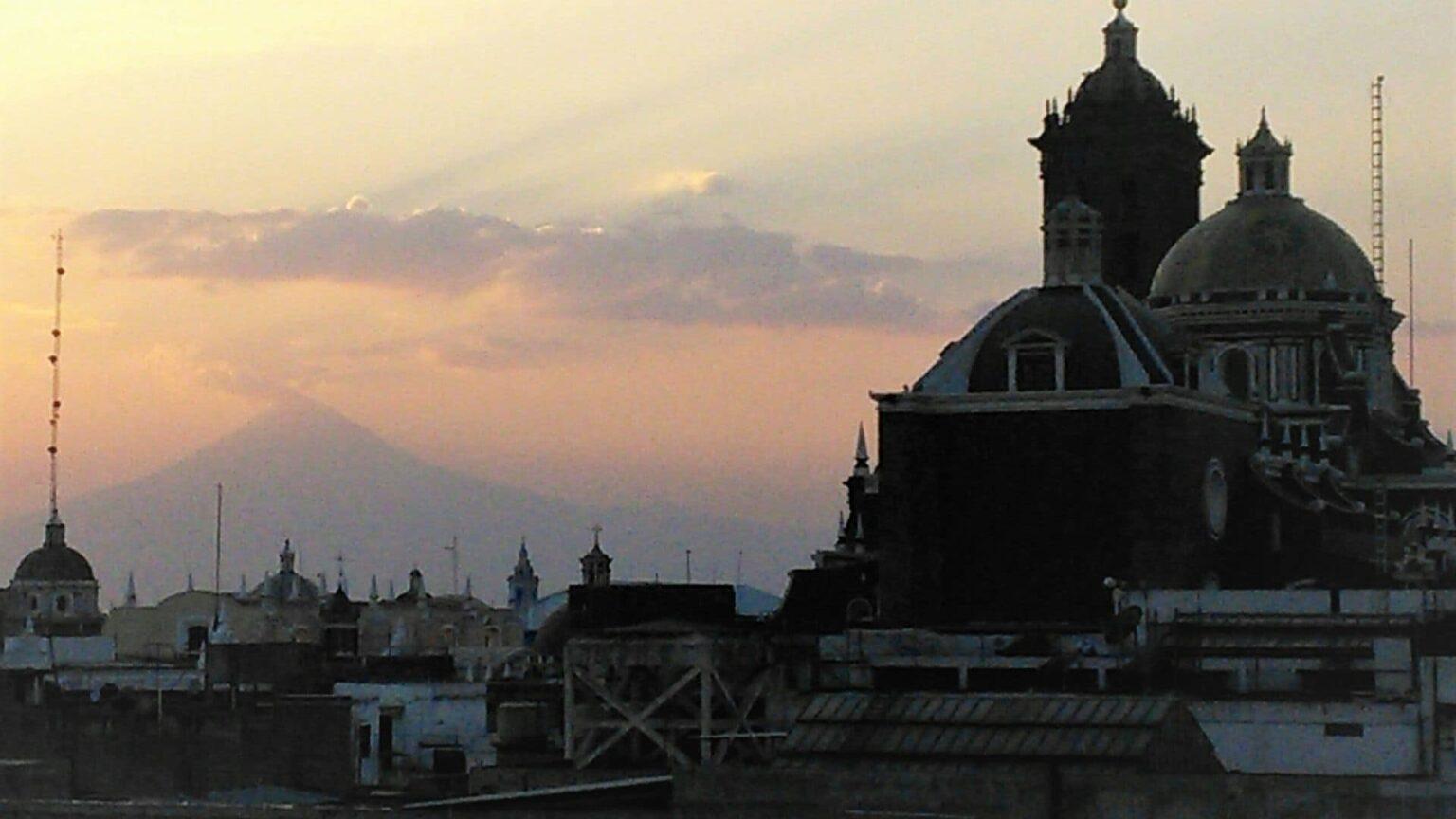 galerie photos voyage Mexique , couché de soleil sur Puebla
